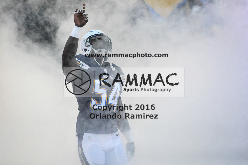 Aug 13, 2015; San Diego, CA, USA; San Diego Chargers outside linebacker Melvin Ingram (54) runs out the tunnel in a preseason NFL football game against the Dallas Cowboys at Qualcomm Stadium. Mandatory Credit: Orlando Ramirez-USA TODAY Sports