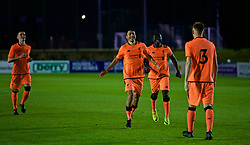 LEYLAND, ENGLAND - Friday, September 1, 2017: Liverpool's Paulo Alves and Bobby Adekanye celebrate with George Johnston [#3] after the penalty shoot-out during the Lancashire Senior Cup Final match between Fleetwood Town and Liverpool Under-23's at the County Ground. (Pic by Propaganda)