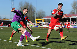 Bristol City's Aaron Wilbraham gets the ball into the box under pressure from Crawley's Sonny Bradley - Photo mandatory by-line: Dougie Allward/JMP - Mobile: 07966 386802 - 07/03/2015 - SPORT - Football - Crawley - Broadfield Stadium - Crawley Town v Bristol City - Sky Bet League One
