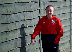 SOUTHAMPTON, ENGLAND - Friday, April 6, 2018: Wales' Natasha Harding during a pre-match walk at the Marriott Meon Valley Hotel & Country Club ahead of the FIFA Women's World Cup 2019 Qualifying Round Group 1 match between England and Wales. (Pic by David Rawcliffe/Propaganda)