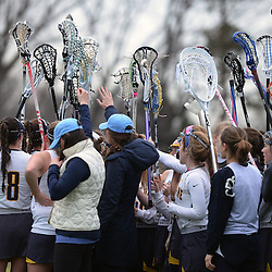 Staff photos by Tom Kelly IV<br /> Notre Dame players huddle up during a timeout during the Episcopal Academy at Notre Dame girls lacrosse game on Tuesday afternoon, March 31, 2015.