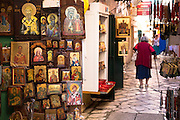 Greek Orthodox religious art icons and paintings in souvenirs and gifts shop in Kerkyra, Corfu Town, Greece