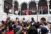Tunis, Tunisia. January 25th 2011.Protesters outside the prime minister's office (Mohammed Ghannouchi), located on the Kasbah square. They demand the removal of members of the ousted president's regime (Zine El Abidine Ben Ali) still in the government.....