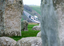 © Licensed to London News Pictures. 01/12/2014. Wiltshire, UK . Traffic on the A303 which will change course once the tunnel is completed. British Prime Minister Nick Clegg visits The World Heritage Site of Stonehenge in Wiltshire today 1st December 2014. A tunnel passing Stonehenge is among dozens of new road schemes announced by the government, as part of £15bn of improvements to England's roads.. Photo credit : Stephen Simpson/LNP