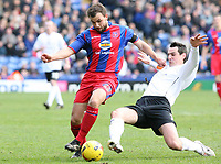 Photo: Alex Pelaez.<br /> Crystal Palace v Luton Town. Coca Cola Championship. 24/02/2007.<br /> Spring of Luton tackles Fletcher of Palace