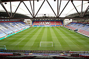 General view of DW Stadium. EFL Sky Bet Championship match between Wigan Athletic and Huddersfield Town at the DW Stadium, Wigan, England on 14 December 2019.
