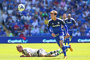 Dan Burn and Joe Mason tussle  during the Sky Bet Championship match between Cardiff City and Fulham at the Cardiff City Stadium, Cardiff, Wales on 8 August 2015. Photo by Shane Healey.