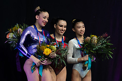 MELBOURNE, Feb. 24, 2019  China's Zhao Shiting (R) poses during the medal presenting ceremony for women's floor final at World Cup Gymnastics in Melbourne, Australia, on Feb. 24, 2019. Zhao Shiting won the bronze medal with a score of 12.266. (Credit Image: © Eilzabeth Xue Bai/Xinhua via ZUMA Wire)