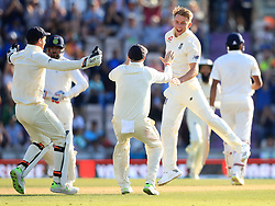 England's Sam Curran celebrates taking the last wicket of India's Ravi Ashwin during day four of the fourth test at the AGEAS Bowl, Southampton.