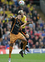 Photo: Lee Earle.<br /> Watford v Wolverhampton Wanderers. Coca Cola Championship. 29/10/2005. Watford's Jay DeMerit (R) gets in ahead of Leon Clarke.