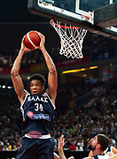 FIBA World Cup Basketball 2019 China. USA vs GreeceFIBA World Cup 2019 Basketball Shenzhen. NBA MVP of the year, Greek Small Forward Giannis ANTETOKOUNMPO,, intercepts an attempt at a basket