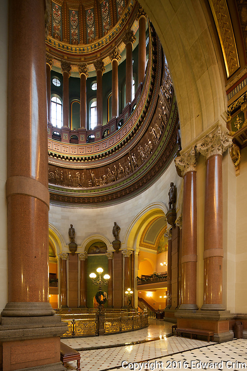 The rotunda of the Illinois capitol as seen from the third floor landing of the grand stair.