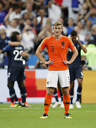 (L-R) Olivier Giroud of France, Benjamin Mendy of France, Matthijs de Ligt of Holland, Raphael Varane of France during the UEFA Nations League A group 1 qualifying match between France and The Netherlands on September 09, 2018 at Stade de France in Saint Denis,  France