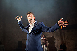 Carmen Disruption <br /> at Almeida Theatre, London, Great Britain <br /> press photocall<br /> 16th April 2015 <br /> <br /> <br /> <br /> John Light as Escamillo <br /> <br /> <br /> <br /> <br /> <br /> Photograph by Elliott Franks <br /> Image licensed to Elliott Franks Photography Services