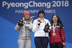 BOCHET_Marie, ROTHFUSS_Andrea, JEPSEN_Mollie, Para Alpine Skiing, ParaSkiAlpin, Giant Slalom, Podium at  the PyeongChang2018 Winter Paralympic Games, South Korea.