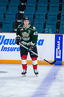 KAMLOOPS, CANADA - NOVEMBER 5: Connor Dewar #43 of Team WHL (Everett Silvertips) warms up against the Team Russia  on November 5, 2018 at Sandman Centre in Kamloops, British Columbia, Canada.  (Photo by Marissa Baecker/Shoot the Breeze)