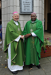 Archbishop of Tuam Dr. Michael Neary and Bishop Cornelius Korir Bishop of Aror concelebtated a Mass of thanksgiving at St Mary's Church Westport on sunday last where 35 year of Westport /Aror Partnership was celebrated. <br /> Pic Conor McKeown