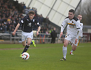 Nicky Riley races away from Michael Miller - Dumbarton v Dundee  - SPFL Championship at the Bet Butler Stadium<br /> <br />  - &copy; David Young - www.davidyoungphoto.co.uk - email: davidyoungphoto@gmail.com