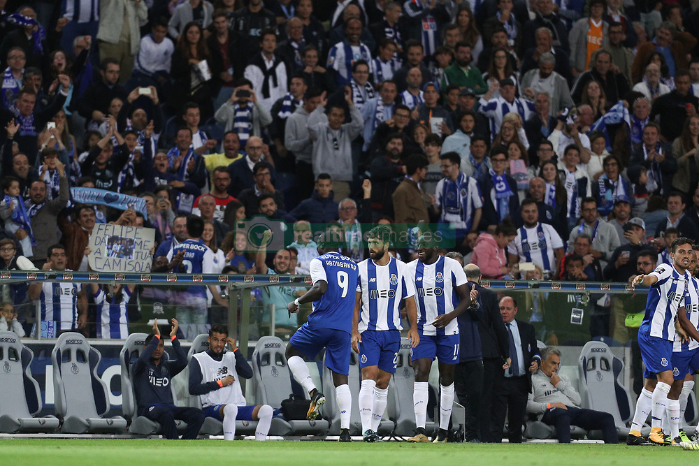 September 9, 2017 - Porto, Porto, Portugal - Porto's Cameroonian forward Vincent Aboubakar celebrates after scoring a goal during the Premier League 2017/18 match between FC Porto and GD Chaves, at Dragao Stadium in Porto on September 9, 2017. (Credit Image: © Dpi/NurPhoto via ZUMA Press)