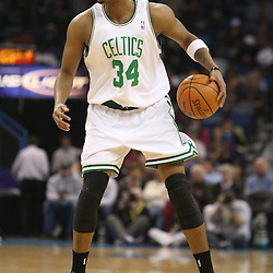 Feb 10, 2010; New Orleans, LA, USA; Boston Celtics forward Paul Pierce (34) controls the ball during the first quarter against the New Orleans Hornets at the New Orleans Arena. Mandatory Credit: Derick E. Hingle-US PRESSWIRE