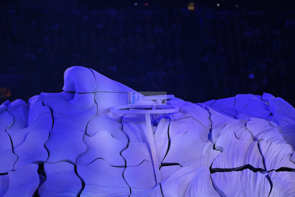 The face of John Lennon is seen during Closing Ceremonies during day 16 of the London Olympic Games in London, England, United Kingdom on August 12, 2012..(Jed Jacobsohn/for The New York Times)..