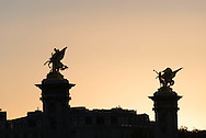 France. Paris. 8th district. the scupture on top of Pont Alexandre III bridge