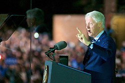 Former US President Bill Clinton on stage at the final rally of Democratic Presidential candidate Hillary Clinton, on November 7, 2016, at Independence Hall, in Philadelphia, PA., USA. The same city her campaign started in, also provides the final stage for Clinton as she is joined by her family and Michelle and Barrack Obama.