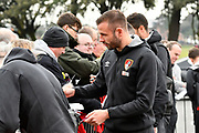 Steve Cook (3) of AFC Bournemouth signing autographs on arrival before the Premier League match between Bournemouth and Tottenham Hotspur at the Vitality Stadium, Bournemouth, England on 11 March 2018. Picture by Graham Hunt.