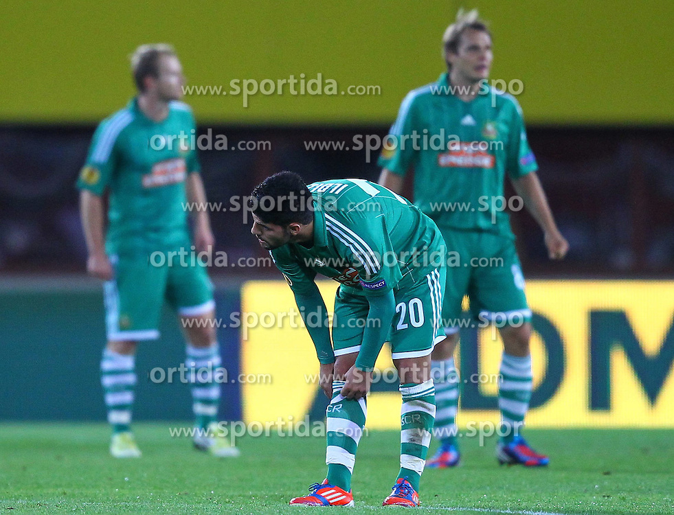 20.09.2012, Ernst Happel Stadion, Wien, AUT, UEFA Europa League, SK Rapid Wien vs Rosenborg Trondheim, Gruppe K, im Bild Muhammed Ildiz (SK Rapid Wien, #20) enttauescht nach dem 0 zu 1 durch Tarik Elyounoussi (Rosenborg Trondheim, #17) // during the UEFA Europa League group K match between SK Rapid Vienna and Rosenborg Trondheim at the Ernst Happel Stadion, Vienna, Austria on 2012/09/20. EXPA Pictures © 2012, PhotoCredit: EXPA/ Patrick Leuk