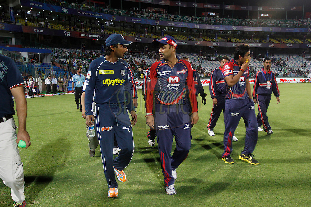 Deccan Chargers captain Kumar Sangakkara and Delhi Daredevils captain Virender Sehwag after the match 19 of the Indian Premier League ( IPL ) Season 4 between the Delhi Daredevils and the Deccan Chargers held at the Feroz Shah Kotla Stadium in Delhi, India on the 19th April 2011..Photo by Pankaj Nangia/BCCI/SPORTZPICS.