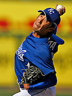 Kansas City Royals Yasuhiko Yabuta pitches in a spring training game against the Chicago Cubs on March 9, 2008, in Surprise, Arizona.  The Cubs won, 14 to 1..