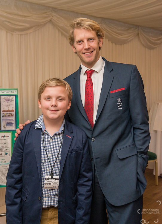 Primary  School finalist with  Andrew Triggs Hodge during the WWF UK Earth Hour 10th Anniversary Parliamentary Reception, Terrace Pavilion, Palace of Westminster. 28th Feb. 2017