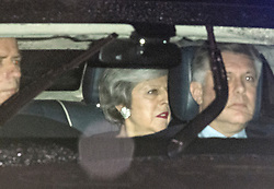 © Licensed to London News Pictures. 06/02/2019. London, UK. British Prime Minister THERESA MAY arrives at Battersea Park in London for the annual Black and White Ball, a fundraiser held by the Conservative Party. Photo credit: Ben Cawthra/LNP