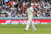 Wicket - Jos Buttler of England looks walks back to the pavilion after being dismissed by Pat Cummins of Australia during the International Test Match 2019 match between England and Australia at Lord's Cricket Ground, St John's Wood, United Kingdom on 18 August 2019.