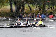 Cambridge, USA, Championships Men's Fours, University of California Berkley,  approaching the Cambridge BC. during the  2009 Head of the Charles  Sunday  18/10/2009  [Mandatory Credit Peter Spurrier Intersport Images],.
