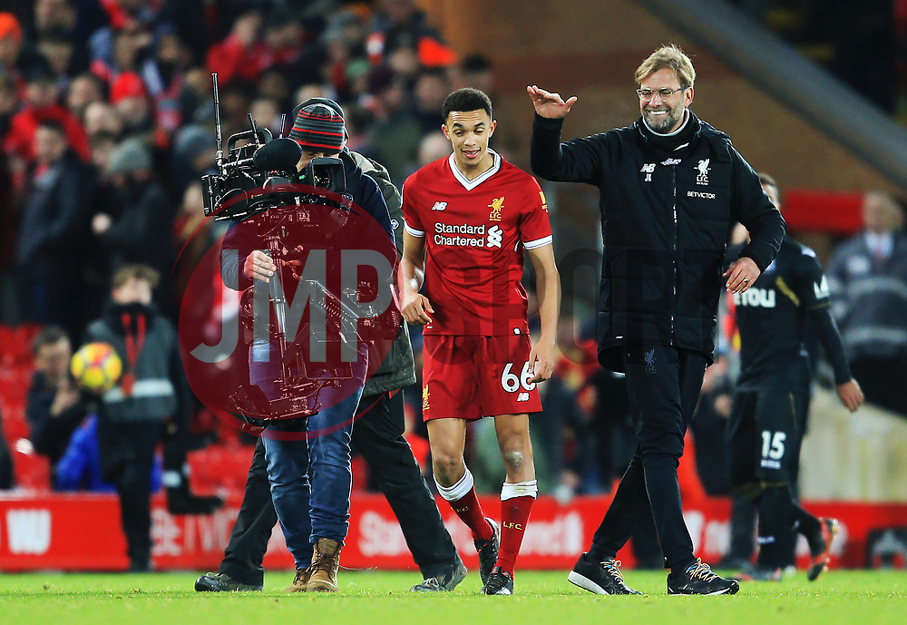 Liverpool manager Jurgen Klopp congratulates Trent Alexander-Arnold at full time - Mandatory by-line: Matt McNulty/JMP - 26/12/2017 - FOOTBALL - Anfield - Liverpool, England - Liverpool v Swansea City - Premier League