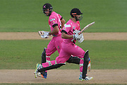 Northern Knights Daryl Mitchell and Brett Hampton run during the Burger King Super Smash T20 cricket match between the Central Stags and the Northern Knights, McLean Park, Napier, Friday, January 25, 2019. Copyright photo: Kerry Marshall / www.photosport.nz
