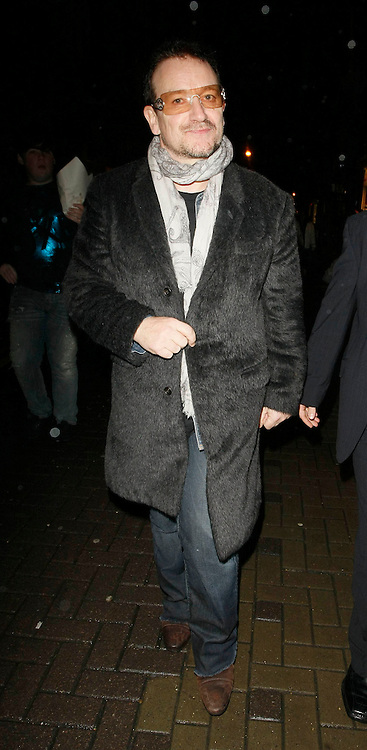 22.JANUARY.2010               LONDON<br /> <br /> U2'S BONO ATTENDS THE HOSPITAL CLUB IN COVENT GARDEN LONDON AFTER PARTICIPATING IN THE HELP FOR HAITI CAUSE. CELEBS ALL OVER WORLD PERFORM TO RAISE MONEY FOR THE LATEST DISASTER TO SHOCK THE WORLD IN HAITI IN THE CARIBBEAN.<br /> <br /> BYLINE MUST READ : EDBIMAGEARCHIVE.COM<br /> <br /> *THIS IMAGE IS STRICTLY FOR UK NEWSPAPERS AND MAGAZINES ONLY FOR WORLD WIDE SALES AND WEB USE PLEASE CONTACT EDBIMAGEARCHIVE - 0208 954 5968