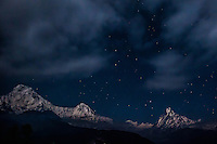 Beautiful night views of the Annapurnas from Tadapani, Nepal.