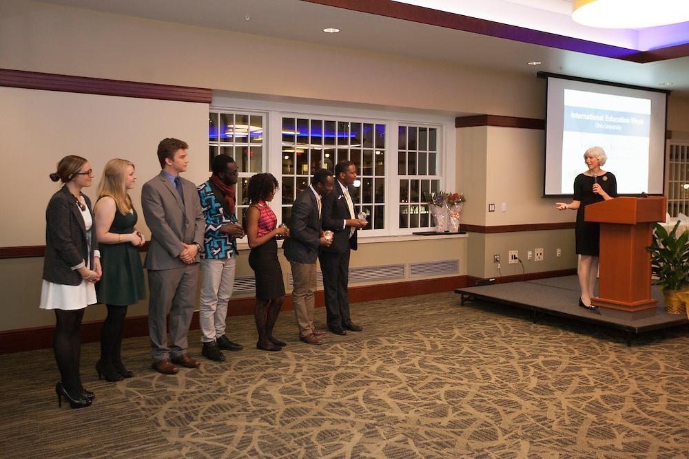 The top two teams of the Global Health Case Competition listen to Lorna Jean Edmonds during the Global Engagement Awards Gala in Nelson Commons, on Thursday, November 19, 2015. Photo by Kaitlin Owens