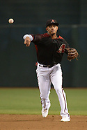 PHOENIX, AZ - JULY 08:  Ketel Marte #4 of the Arizona Diamondbacks throws the ball to make the out against the Cincinnati Reds in the third inning of the MLB game at Chase Field on July 8, 2017 in Phoenix, Arizona.  (Photo by Jennifer Stewart/Getty Images)