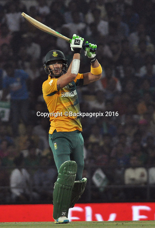 FAF du Plessis of South Africa during the 2016 ICC World T20 cricket match between South Africa and West Indies at Vidharbha Cricket Association, Jamtha, India on 25 March 2016 ©BackpagePix