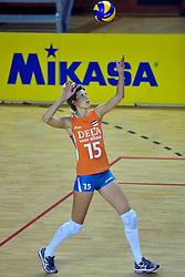 29-10-2011 VOLLEYBAL: NEDERLAND - BELGIE: ALMERE<br /> De eerste oefenwedstrijd als voorbereiding op het pre OKT wordt met 3-0 gewonnen van Belgie / Ingrid Visser<br /> ©2011-WWW.FOTOHOOGENDOORN.NL