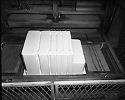 Pye Factory,fridge assembly line..1971..15.04.1971..04.15.1971..15th April 1971..The Pye factory which manufactured electrical appliances closed its doors in 1985. At the peak it Pye employed 1200 people and was the largest employer in the Dundrum area. Dundrum bowl was built on the Pye site when the factory closed, it too had its problems and closed in the early 90s due to flooding. on the site now stands the Dundrum Shopping centre which is now the centrepoint of Dundrum town centre..Picture of the fridge liner at the end of the moulding process.Note the ridges in the moulding,these increased rigidity and strength of the liner.