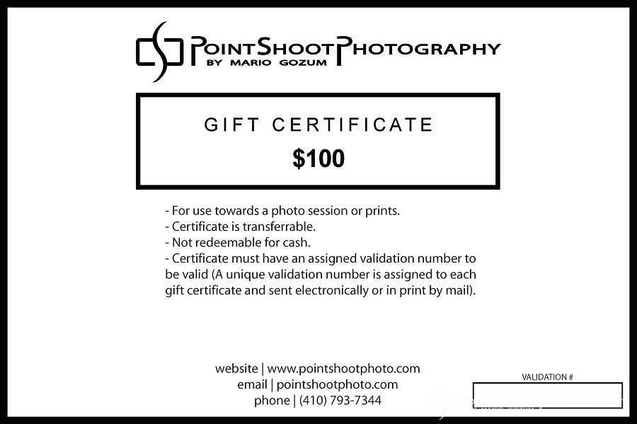 PointShoot Photography $100 gift certificate for use towards sessions or prints.