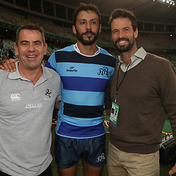 DURBAN, SOUTH AFRICA - JUNE 16: John Hooper with Clement Poitrenaud of the French Barbarians and Alan Kourie during the match between South Africa A and French Barbarians at Moses Mabhida Stadium on June 16, 2017 in Durban, South Africa. (Photo by Steve Haag/Gallo Images)
