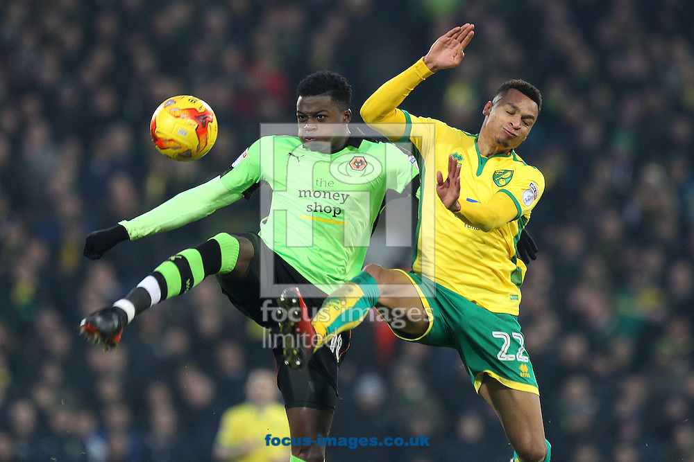 Dominic Iorfa of Wolverhampton Wanderers and Jacob Murphy of Norwich in action during the Sky Bet Championship match at Carrow Road, Norwich<br /> Picture by Paul Chesterton/Focus Images Ltd +44 7904 640267<br /> 21/01/2017