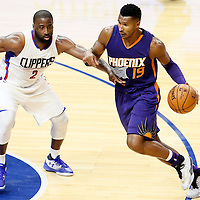 31 October 2016: Phoenix Suns guard Leandro Barbosa (19) drives past Los Angeles Clippers guard Raymond Felton (2) during the Los Angeles Clippers 116-98 victory over the Phoenix Suns, at the Staples Center, Los Angeles, California, USA.
