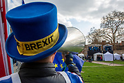 Steve Bray shouts 'Stop Brexit' with a loud hailer at the TV studios  with a Sodem Action sign . he is a  pro EU demonstrators who have been outside parliament on a daily basis since September 2017 after the country voted to leave the European Union. House of Commons, Westminster, London, United Kingdom  (photo by Andrew Aitchison / In Pictures via Getty Images)