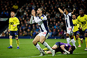 West Bromwich Albion forward Jay Rodriguez (19) rues a miss during the EFL Sky Bet Championship match between West Bromwich Albion and Blackburn Rovers at The Hawthorns, West Bromwich, England on 27 October 2018.